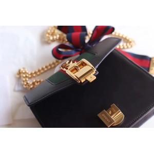 Gucci Black Leather Sylvie Mini Chain Bag