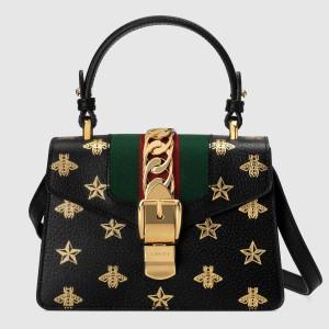 Gucci Black Sylvie Bee Star Mini Leather Bag