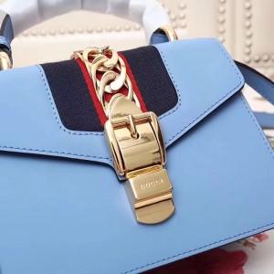 Gucci Blue Leather Sylvie Mini Bag