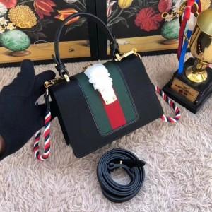 Gucci Black Satin Sylvie Crystal Mini Bag