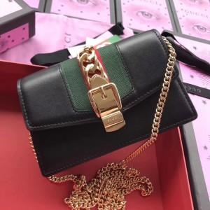 Gucci Black Sylvie Leather Mini Chain Bag