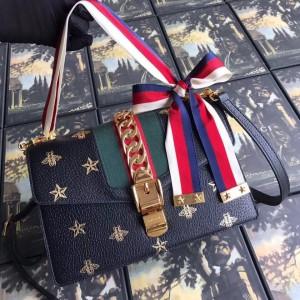 Gucci Black Sylvie Bee Star Small Shoulder Bag