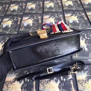 Gucci Black Sylvie GG Velvet Small Shoulder Bag