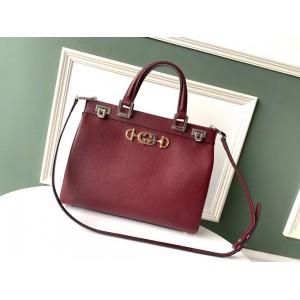 Gucci Zumi Burgundy Grainy Leather Medium Top Handle Bag