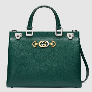 Gucci Zumi Green Grainy Leather Medium Top Handle Bag