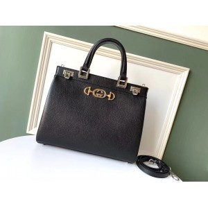 Gucci Zumi Black Grainy Leather Medium Top Handle Bag