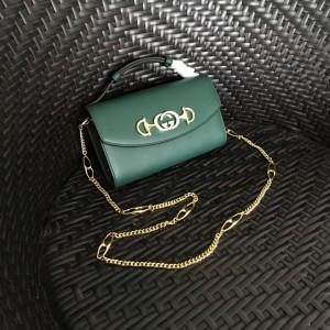 Gucci Zumi Mini Bag In Green Smooth Leather