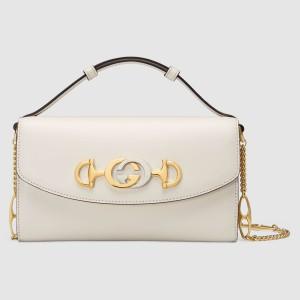 Gucci Zumi Mini Bag In White Smooth Leather