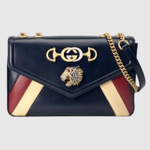 Gucci Blue Rajah Medium Shoulder Stripes Bag