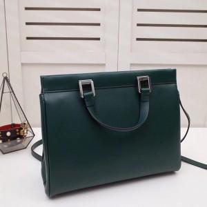 Gucci Zumi Medium Top Handle Bag In Green Calfskin