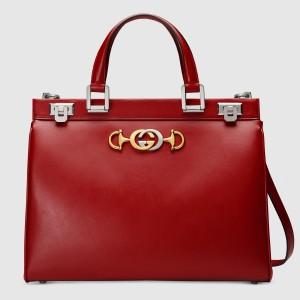 Gucci Zumi Medium Top Handle Bag In Red Calfskin