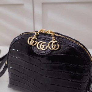 Gucci Black Ophidia Crocodile Small Shoulder Bag