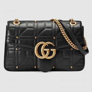 Gucci Black GG Marmont Medium Studs Shoulder Bag