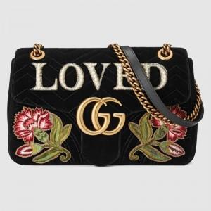 Gucci Black GG Marmont Medium Velvet Should Bag