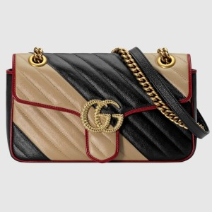 Gucci GG Marmont Small Shoulder Bag In Bicolor Diagonal Leather
