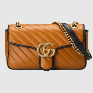 Gucci GG Marmont Small Shoulder Bag In Cognac Diagonal Leather