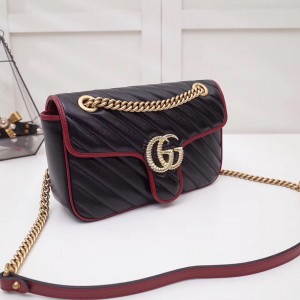 Gucci GG Marmont Small Shoulder Bag In Black Diagonal Leather