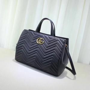 Gucci Black GG Marmont Medium Matelasse Top Handle Bag