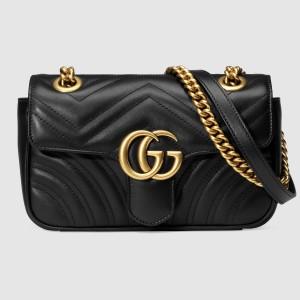 Gucci Black GG Marmont Mini Matelasse Shoulder Bag