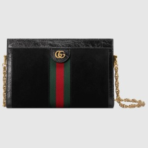 Gucci Black Suede Ophidia Small Shoulder Bag