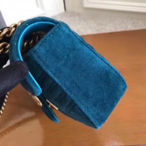 Gucci Black GG Marmont Mini Velvet Shoulder Bag