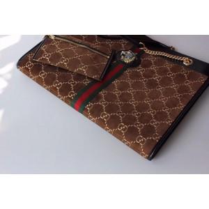 Gucci Rajah Large Tote Bag In Brown Velvet