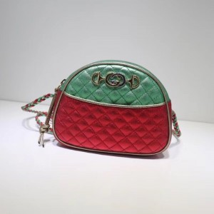 Gucci Green/Red Laminated Leather Mini Bag