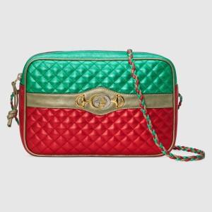 Gucci Green/Red Laminated Small Shoulder Bag
