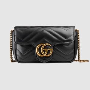 Gucci Black GG Marmont Matelasse Super Mini Bag
