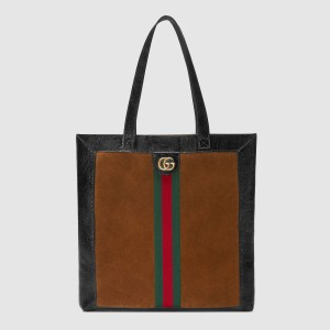 Gucci Brown Ophidia Suede Large Tote Bag
