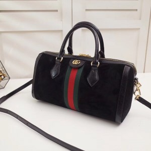 Gucci Black Suede Ophidia Medium Boston Bag