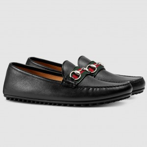 Gucci Black Leather Drive Shoes With Web