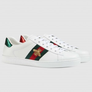 Gucci Men's Ace Embroidered Bees White Sneaker