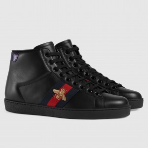 Gucci Men's Ace Embroidered Bee High-top Black Sneaker