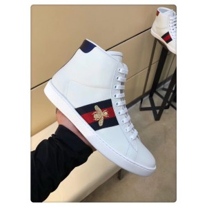 Gucci Men's Ace Embroidered Bee High-top White Sneaker