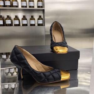 Bottega Veneta Black Quilted Pumps With Metal Toe
