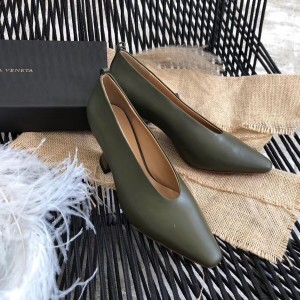 Bottega Veneta Almond Toe Pumps In Khaki Nappa Leather