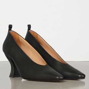 Bottega Veneta Almond Toe Pumps In Black Nappa Leather
