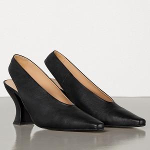 Bottega Veneta Almond Slingback Pumps In Black Nappa Leather