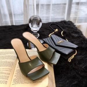 Bottega Veneta Square Toe Mules In Khaki Nappa Leather
