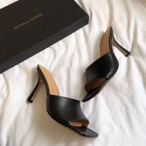 Bottega Veneta Square Toe Mules In Black Nappa Leather