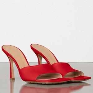 Bottega Veneta Square Toe Mules In Red Nappa Leather