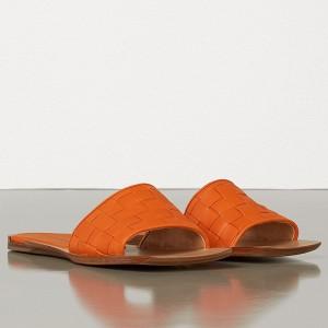 Bottega Veneta Intrecciato Slides In Orange Nappa Leather