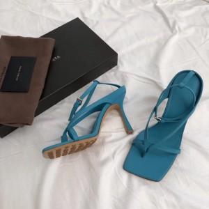 Bottega Veneta Ankle-strap Stretch Sandals In Blue Nappa Leather