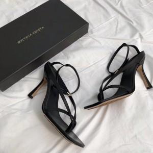 Bottega Veneta Ankle-strap Stretch Sandals In Black Nappa Leather