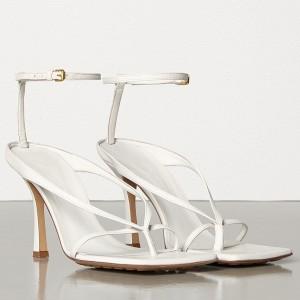 Bottega Veneta Ankle-strap Stretch Sandals In White Nappa Leather