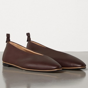 Bottega Veneta Almond Flats In Bordeaux Nappa Leather
