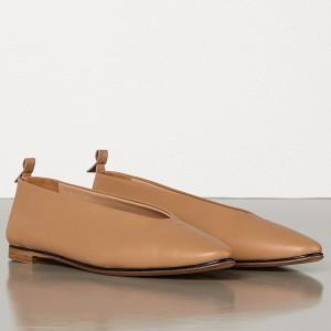 Bottega Veneta Almond Flats In Nude Nappa Leather
