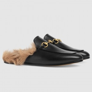 Gucci Princetown Slippers With Wool Lining