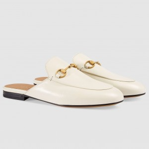 Gucci Princetown Slippers In White Leather